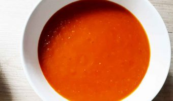 bowl of soup deep red