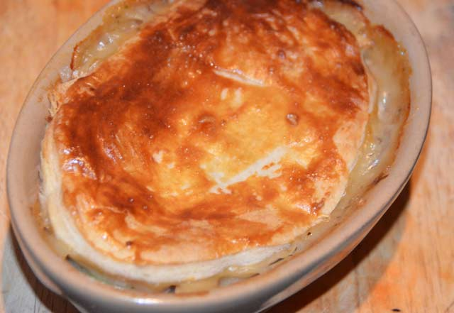 chicken pie straight from the oven