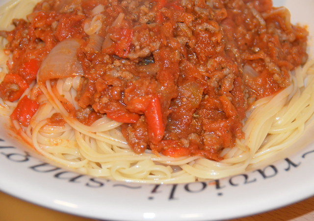 Portion of Spaghetti with bolognese sauce