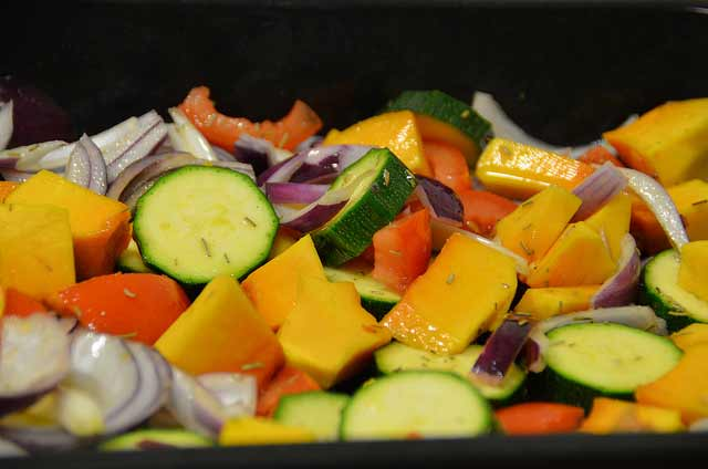Crown prince squash, onion, courgettes, peppers roasted together
