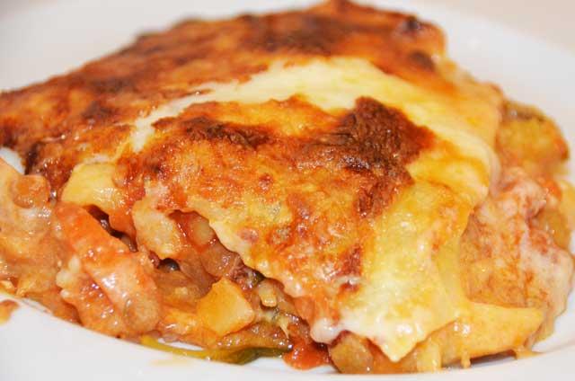 serving of vegetarian lasagne