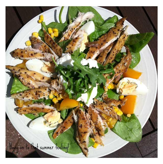 mackerel and eggs on a salald base