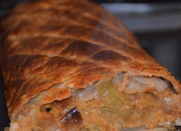 onion and lentils wrapped in pastry