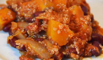 squash and quinoa in a tomato chilli sauce