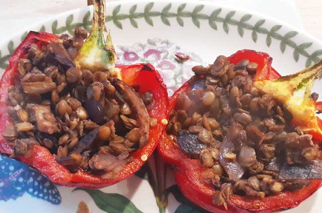Peppers stuffed with lentils on a plate