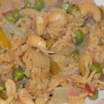 cashew nuts and peas in risotto rice