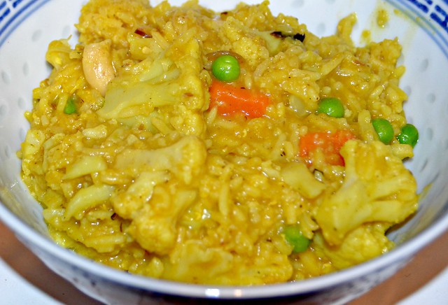 cauliflower curry and rice in a bowl