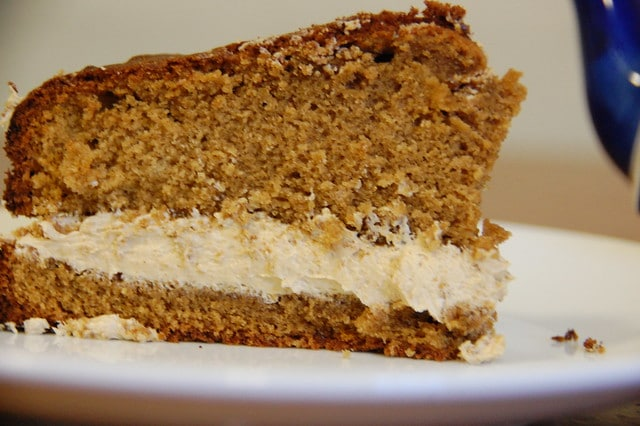 slice of coffee cake with buttercream filling