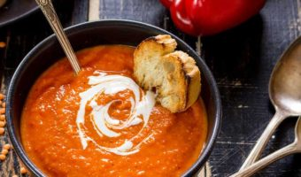 rich red soup with bread