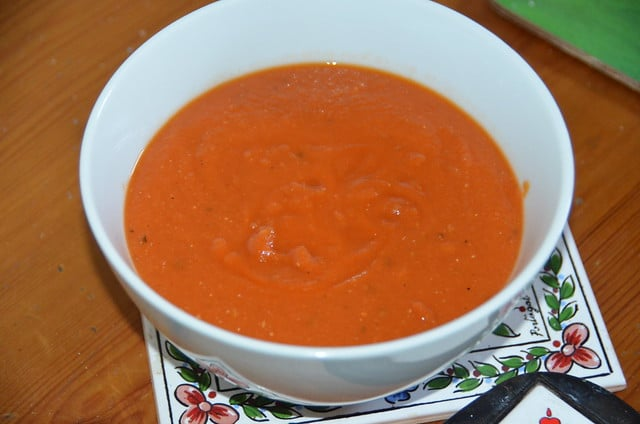 red soup in a bowl