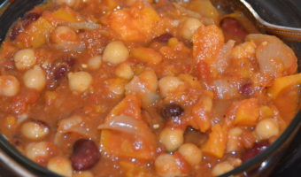 glass casserole with mixed beans