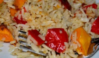 rice with chopped peppers and squash
