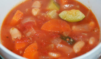 carrot, courgetter, onion an d beans in a tomato based soup