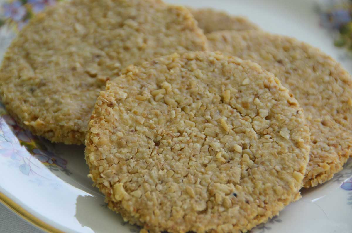 cheese oatcakes on a plate