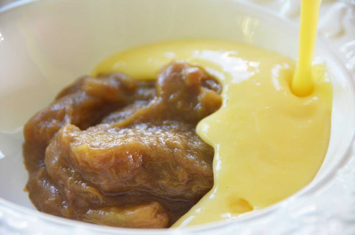 stewed rhubarb with yellow custard being poured on