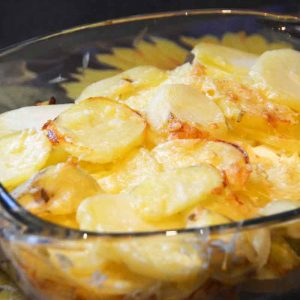 sliced potatoes in a glass dish